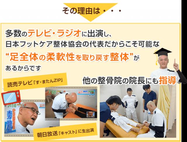 """多数のテレビ・ラジオに出演し、日本フットケア整体協会の代表だからこそ可能な""""足全体の柔軟性を取り戻す整体""""があるからです"""